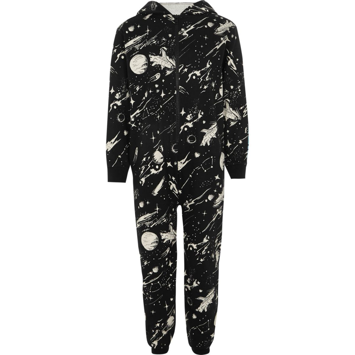 Boys black space theme print onesie