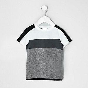 Mini boys white and grey block stripe T-shirt