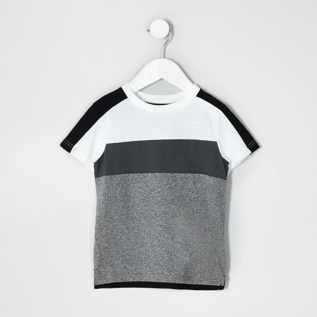 Mini boys white and grey block stripe T-shirt