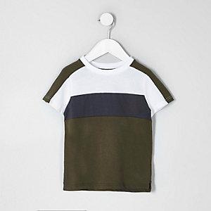 Mini - Kaki gestreept T-shirt met kleurvlakken voor jongens