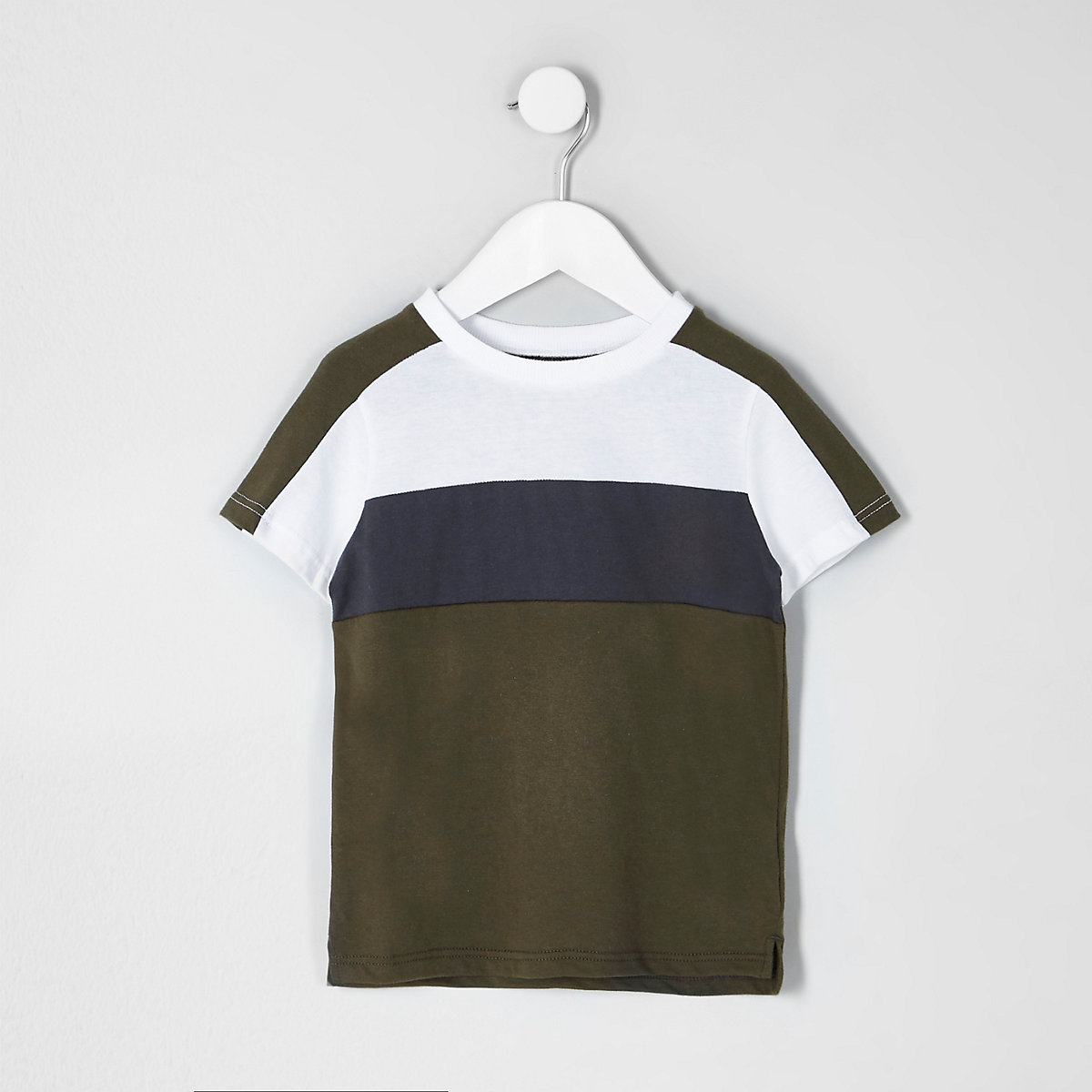 Mini boys khaki block stripe T-shirt