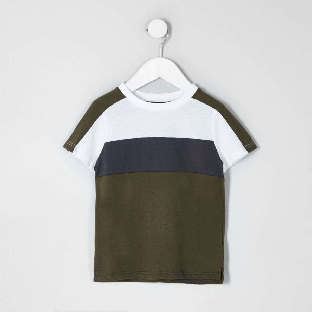 Mini boys khaki block stripe T-shirt