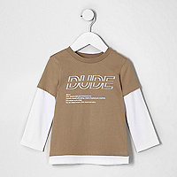 Mini boys camel 'dude' double layer T-shirt