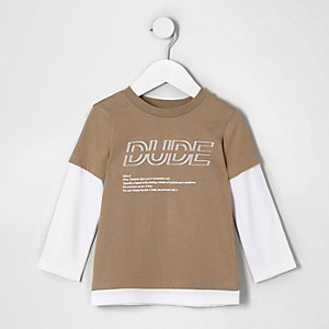 Mini boys camel 'dude' double layer T-shirt