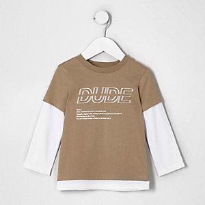 Mini - Camelkleurig dubbelgelaagd T-shirt met 'dude'-print voor jongens