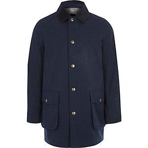 Marineblauwe jas met corduroy kraag voor jongens