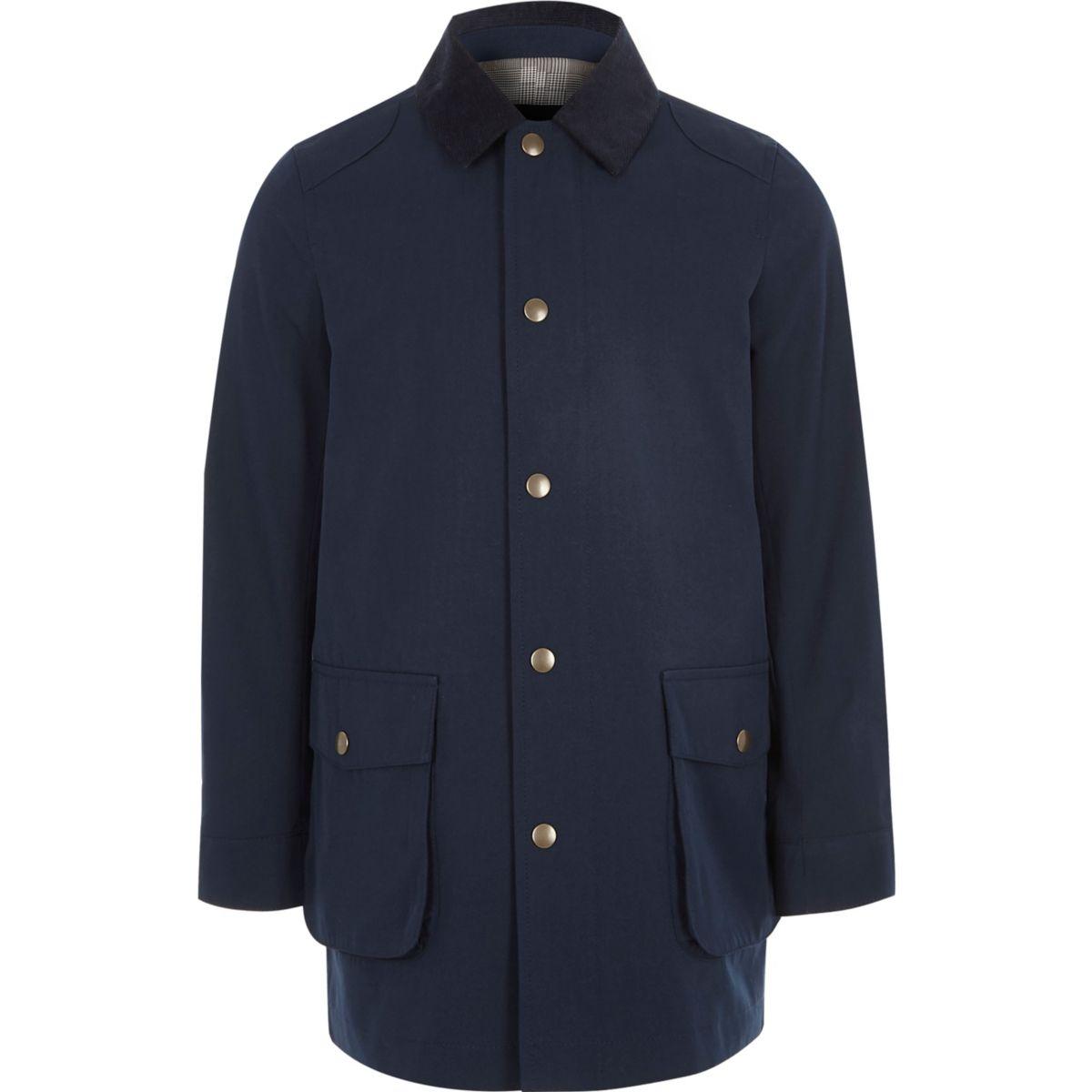 Veste bleu marine à col en velours côtelé pour garçon