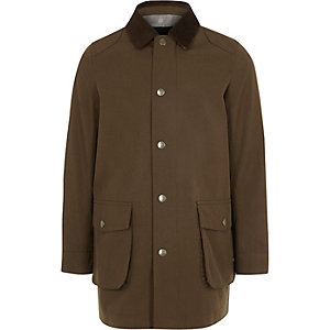Veste marron à col en velours côtelé pour garçon