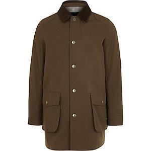 Bruine jas met corduroy kraag voor jongens