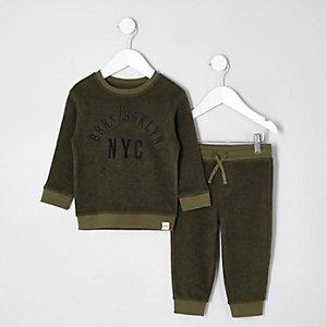 Mini - Outfit met kaki velours sweatshirt met 'NYC'-print voor jongens