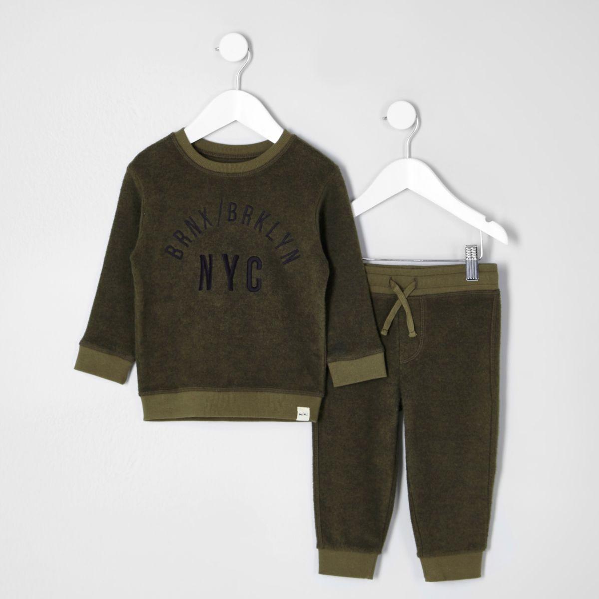 Mini boys  khaki felt 'NYC' sweatshirt outfit