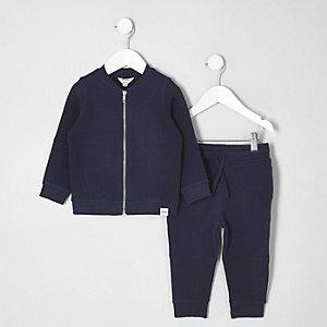 Mini - Set met marineblauw bomberjack met wafeldessin en joggingbroek voor jongens