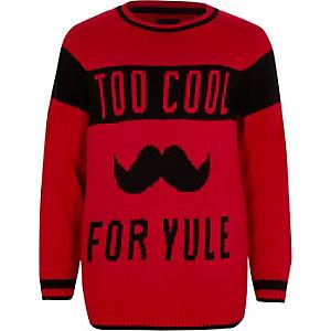 Rode gebreide pullover met 'Too cool for yule'-print voor jongens