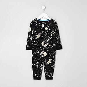 Mini - Zwarte onesie met ruimteprint voor jongens