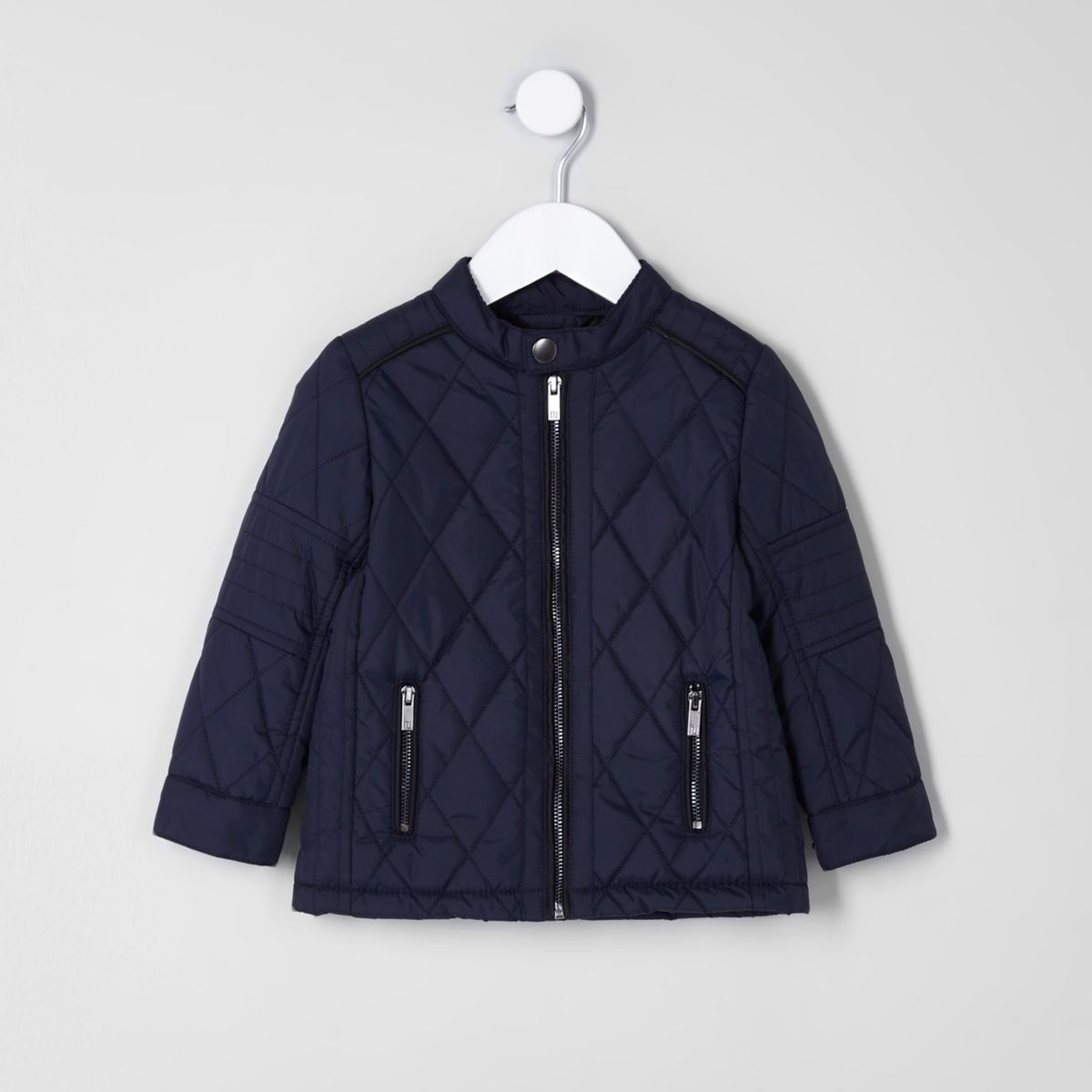 Mini boys navy quilted racer jacket