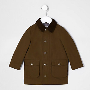 Mini boys brown cord collar mac coat
