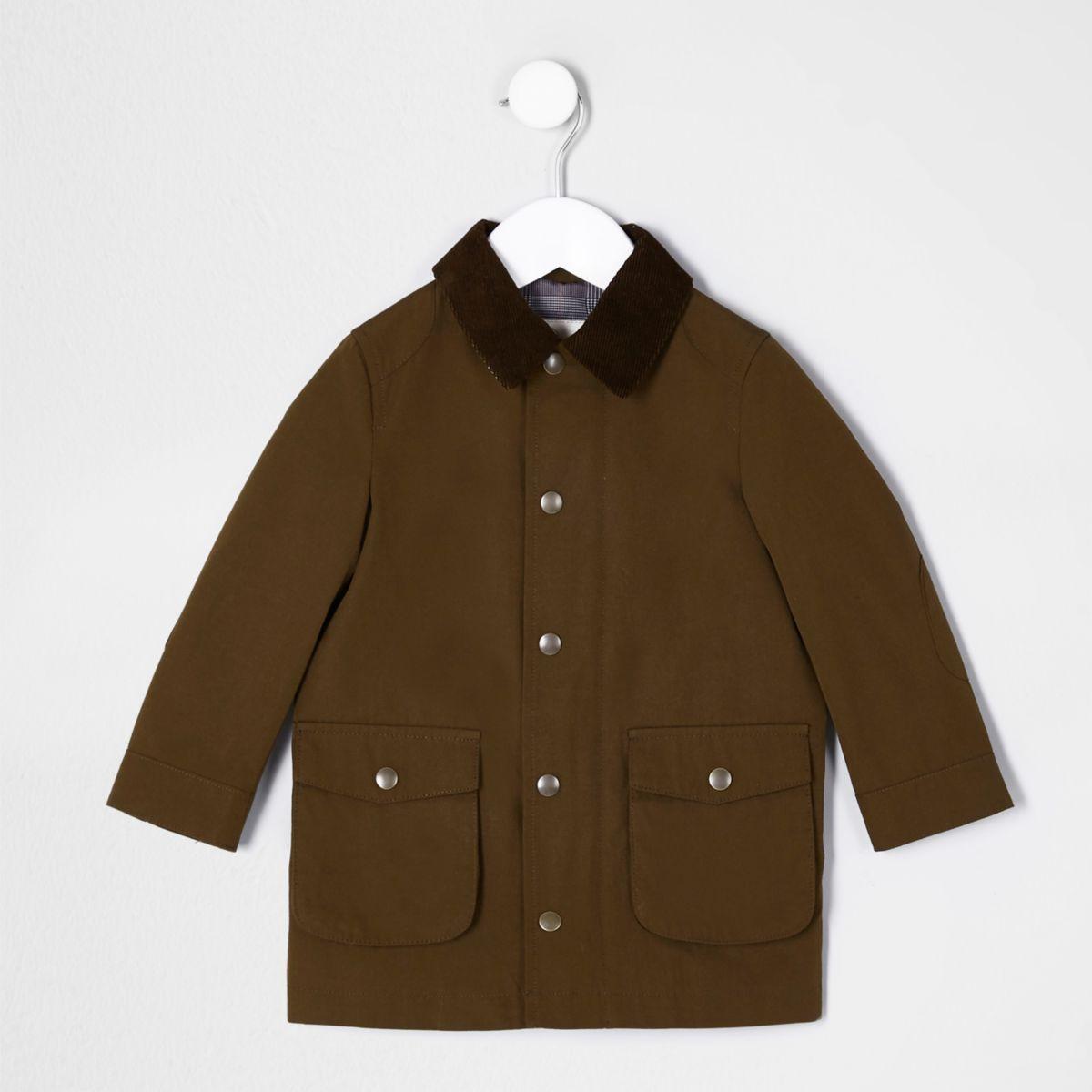 Mini boys brown cord collar mac coat