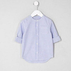 Mini boys light blue grandad shirt