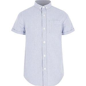 Blauw gestreept overhemd met korte mouwen voor jongens