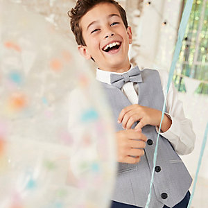 Boys light blue waistcoat and shirt set
