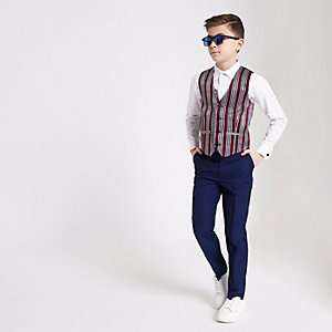 Boys white shirt and stripe vest set
