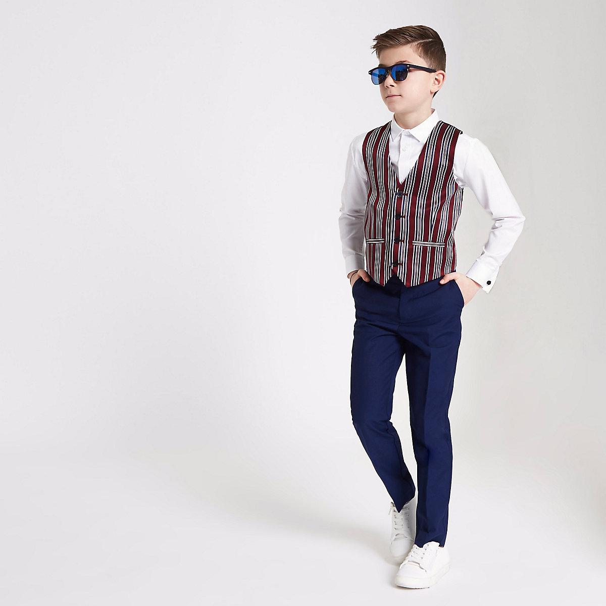 Boys white shirt and stripe vest set