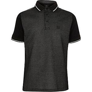 Schwarzes, kurzärmliges Polohemd