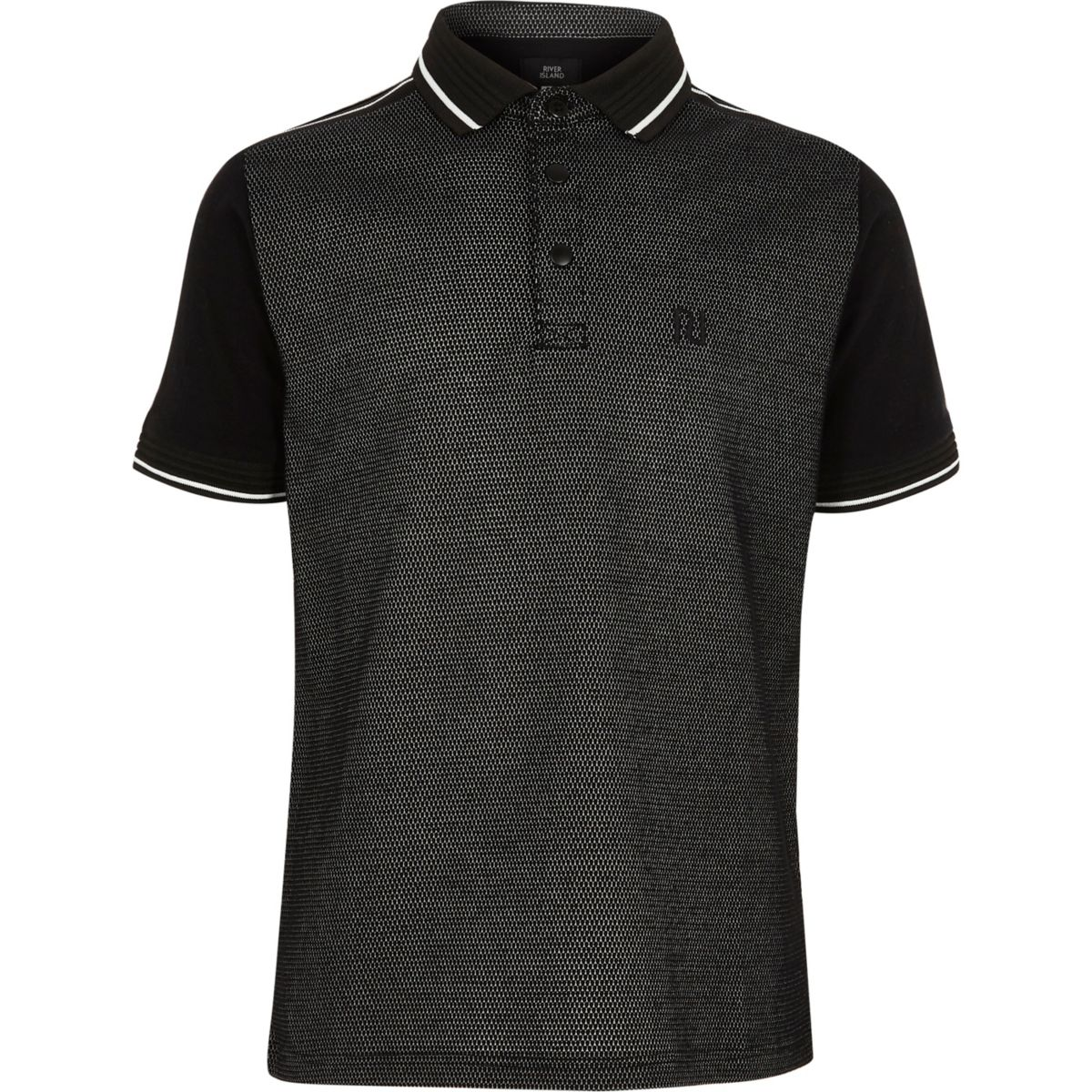 Boys black tipped short sleeve polo shirt