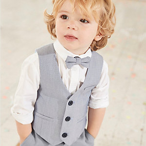 Mini boys light blue vest and shirt set