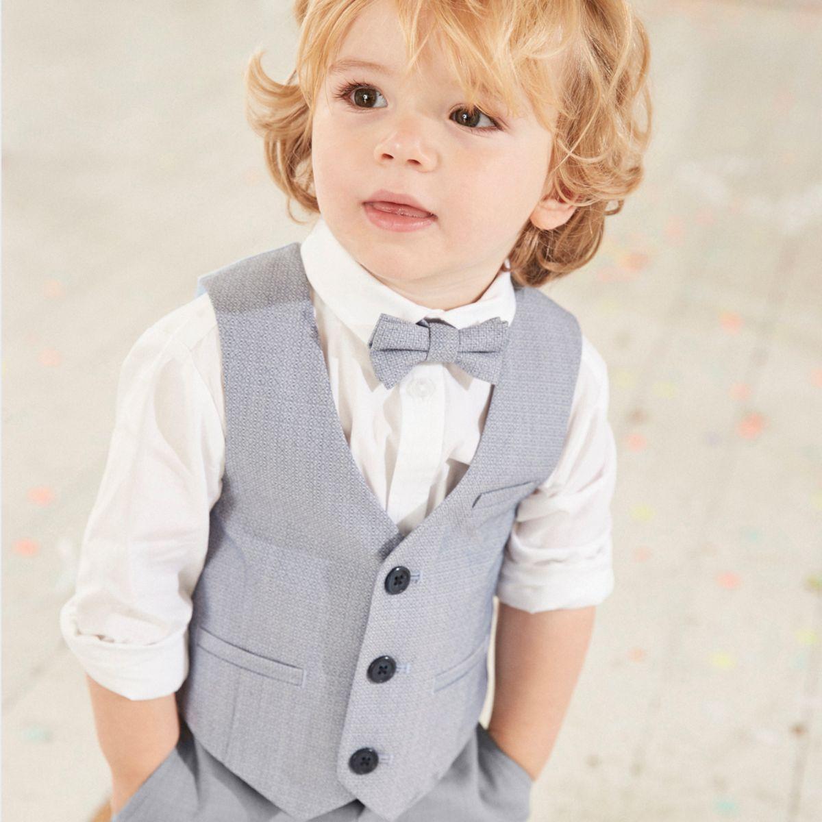 Mini boys light blue vest and shirt set