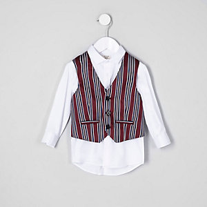 Mini boys red stripe waistcoat and shirt set
