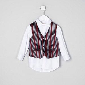 Rote gestreifte Weste und Hemd, Set