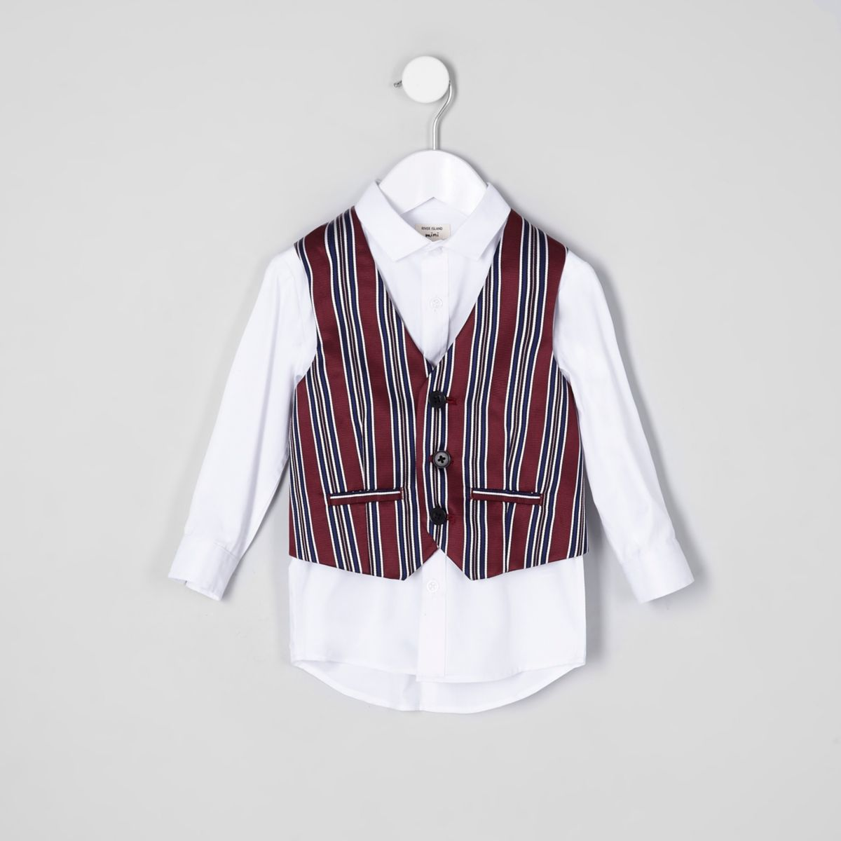 Mini boys red stripe vest and shirt set
