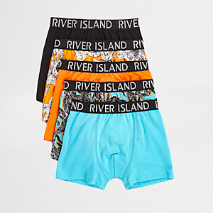 Boys orange tropical print trunks multipack