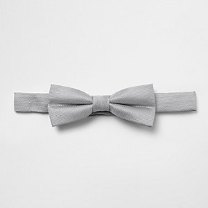 Boys grey textured bow tie