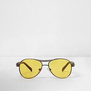 Lunettes de soleil aviateur à verres jaunes pour homme