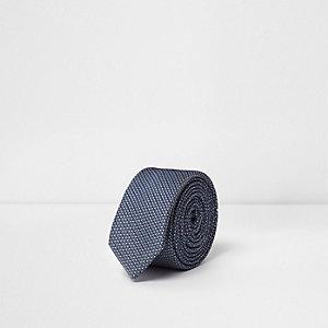 Blauwe jacquard stropdas voor jongens
