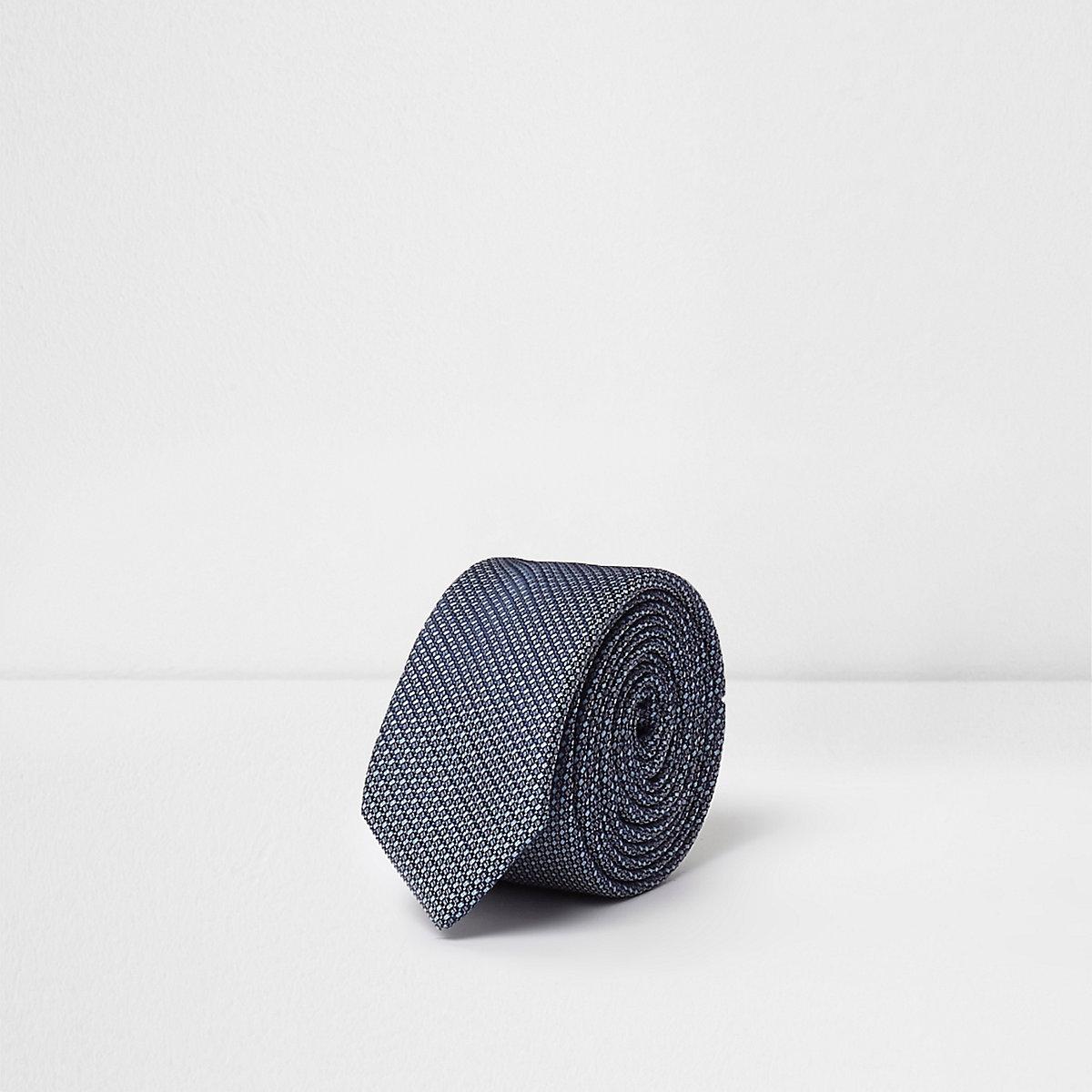 Cravate motif jacquard bleue pour garçon