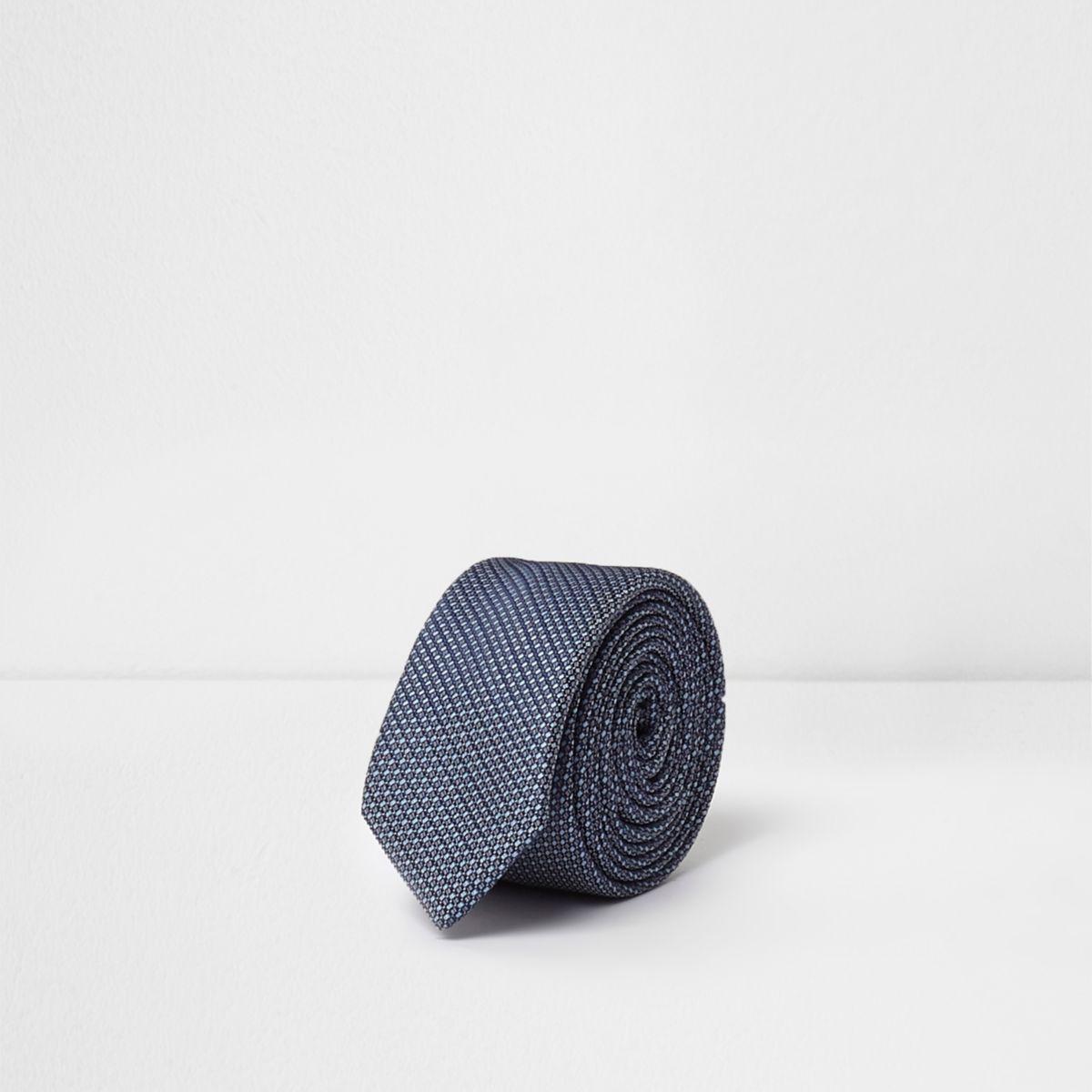 Boys blue jacquard tie