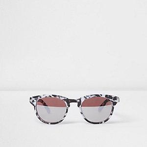 Mini - Zwarte zonnebril met marmerprint en rubberen montuur voor jongens