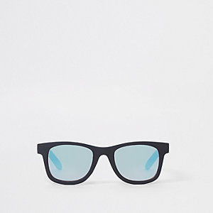 Mini boys black retro blue lens sunglasses