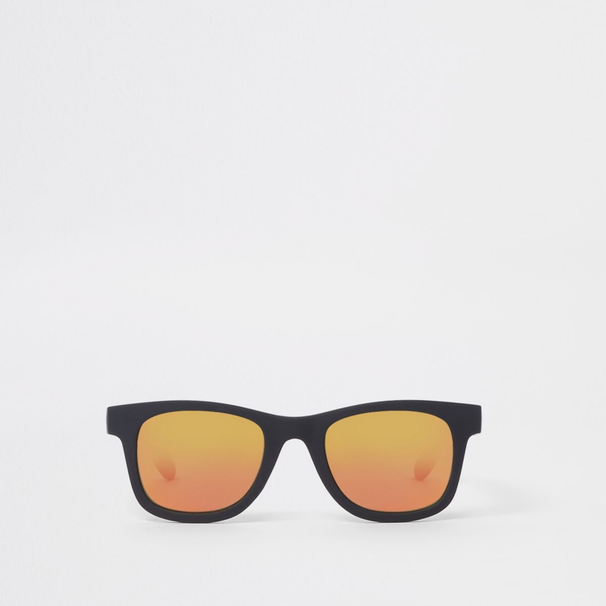 Mini boys black retro red lens sunglasses