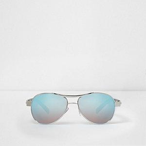 Lunettes de soleil aviateur bleues à verres effet miroir pour garçon