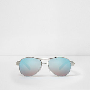 Blauwe pilotenzonnebril met spiegelglazen voor jongens