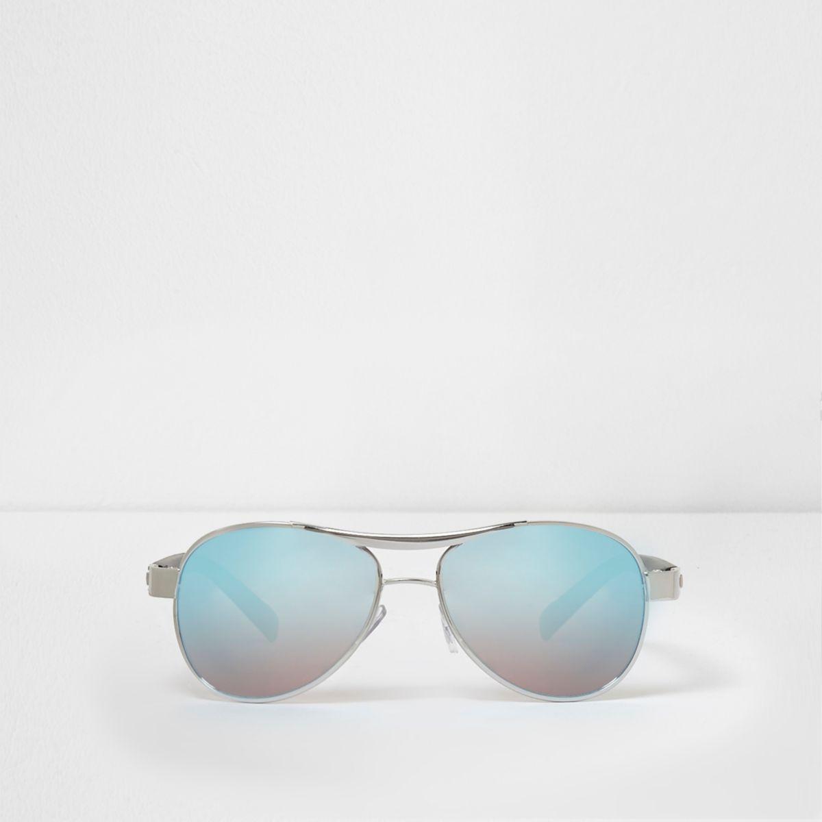 Boys blue mirror lens aviator sunglasses