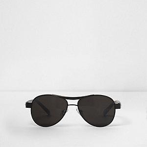 Zwarte pilotenzonnebril met grijze glazen voor jongens