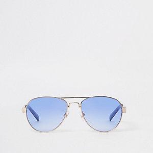 Pilotensonnenbrille in Silber mit blauen Gläsern