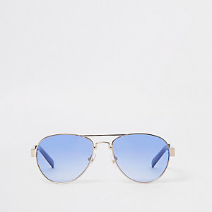 Boys silver tone aviator blue lens sunglasses
