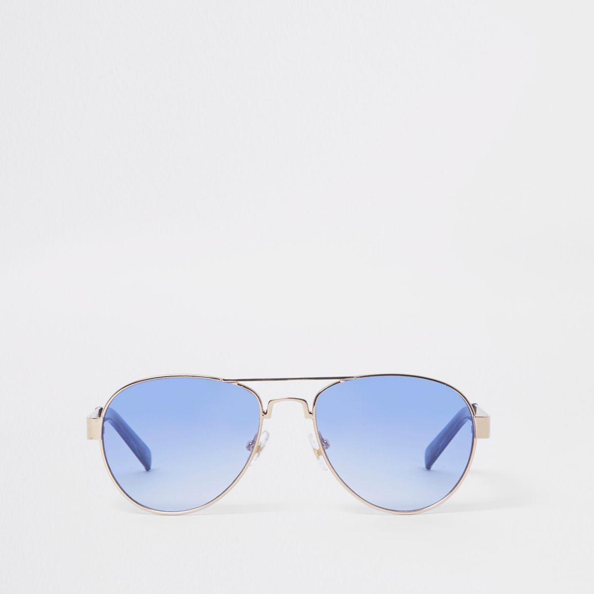 Boys silver tone aviator blue lens sunglasses