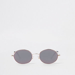 Boys silver tone oval grey lens sunglasses